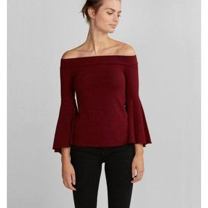 Express Maroon Fitted Off The Shoulder Top